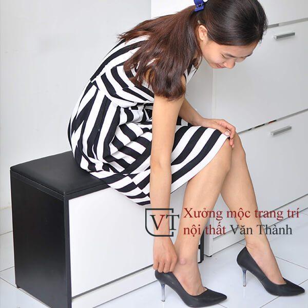 Tủ giày thông minh 1 tầng có đệm ngồi hình mẫu minh hoạ