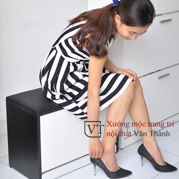 Tủ đựng giày thông minh 1 tầng có đệm ngồi hình mẫu minh hoạ
