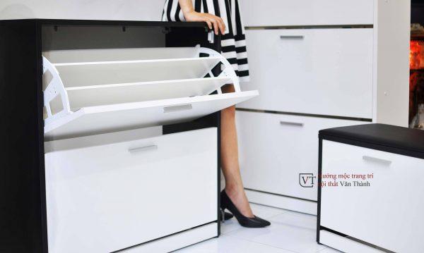 Tủ giày thông minh kết hợp ghế ngồi nổi bật Văn Thành