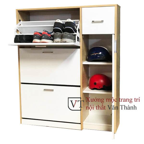Tủ đựng giày thông minh 3 tầng có ngăn để nón bảo hiểm